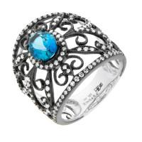 Золотое кольцо с бриллиантами и топазами ЛВС731БЛА4ВТ