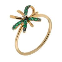 Золотое кольцо с бриллиантом и изумрудами ЛВ1589ЕМР4РГА11