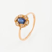 Золотое кольцо с бриллиантами и сапфиром ЛВ1596САР4РТА11