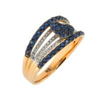 Золотое кольцо с бриллиантами и сапфирами ЛВВ066САА4РТЗ