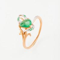 Золотое кольцо с бриллиантами и изумрудами ЛВ1592ЕМР4РТА11