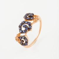 Золотое кольцо с бриллиантами и сапфирами ЛВ1571САР4РТА11