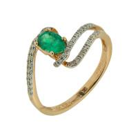 Золотое кольцо с бриллиантами и изумрудом ЛВН635ЕМА4РТЗ