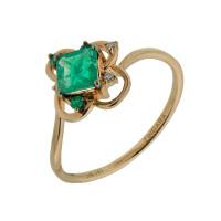 Золотое кольцо с бриллиантами и изумрудами ЛВ1581ЕМР4РТЗА11