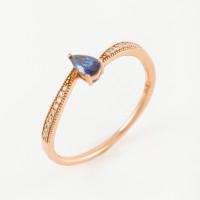 Золотое кольцо с бриллиантами и сапфиром ЛВ1564САР4РТА11