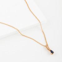 Золотое колье с бриллиантами и сапфиром ЛВ1564САН4РТА11