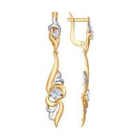 Золотые серьги подвесные с фианитами ДИ027616