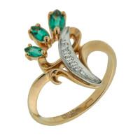 Золотое кольцо с бриллиантами и изумрудами ЗСК13000187