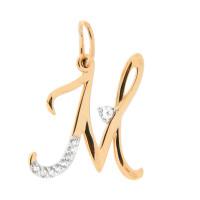 Золотая подвеска Буква М с фианитами ЮПП1320515