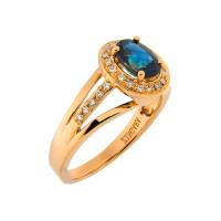 Золотое кольцо с бриллиантами и сапфиром ЛВК672САА4РТ