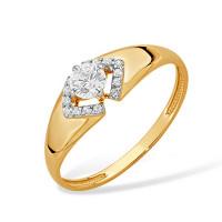 Золотое кольцо с фианитами ЮПК1325746