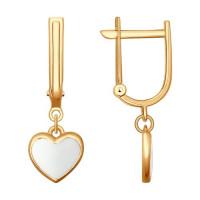 Золотые серьги подвесные с эмалью ДИ027613