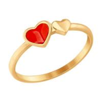 Золотое кольцо с эмалью ДИ017545