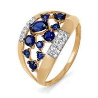 Золотое кольцо с сапфирами гт, бриллиантами и сапфирами ДПБР210507ГТ