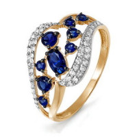 Золотое кольцо с сапфирами и бриллиантами ДПБР210509ГТ