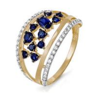 Золотое кольцо с сапфирами и бриллиантами ДПБР210511ГТ
