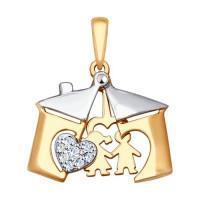 Золотая подвеска с фианитами ДИ035288