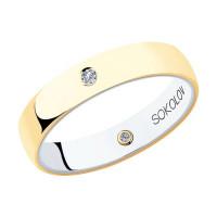 Золотое кольцо обручальное с бриллиантами ДИ1114015-01