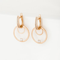 Золотые серьги подвесные с фианитами СН01-215599