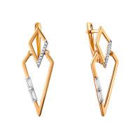 Золотые серьги подвесные с фианитами СН01-215379
