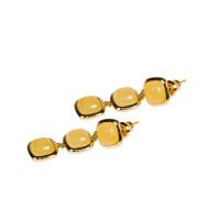 Серебряные серьги гвоздики с янтарем 4ТИН-2-2Г