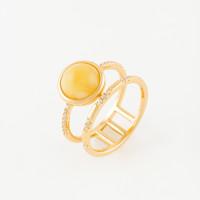 Серебряное кольцо с янтарем и фианитами 4ТИН-1-1Г