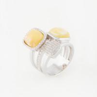 Серебряное кольцо с янтарем и фианитами 4ТИН-1-2С