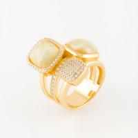 Серебряное кольцо с янтарем и фианитами 4ТИН-1-2Г