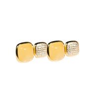Серебряные серьги гвоздики с янтарем и фианитами 4ТИН-2-1Г