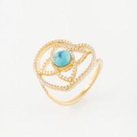 Серебряное кольцо с бирюзой и фианитами 4ТЛТ-1-2Г