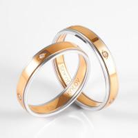 Золотое кольцо обручальное с фианитами ДИ114109-01