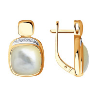 Золотые серьги с перламутрами и бриллиантами ДИ1021438