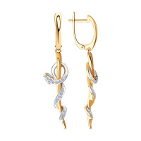 Золотые серьги подвесные с бриллиантами