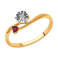 Золотое кольцо с бриллиантом и рубинами ДИ4010643