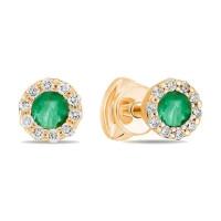 Золотые серьги гвоздики с изумрудами и бриллиантами ЛФЕ01-Д-34056-ЕМ