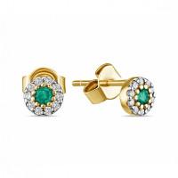Золотые серьги гвоздики с изумрудами и бриллиантами
