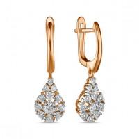 Золотые серьги подвесные с бриллиантами ЛФЕ01-Д-Л-ПЛ-35209