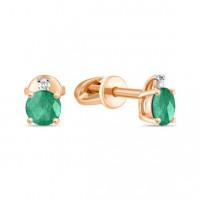 Золотые серьги гвоздики с изумрудами и бриллиантами ЛФЕ01-Д-33501-ЕМ