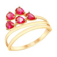 Золотое кольцо с корундами рубинами ДИ715336