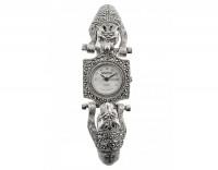 Серебряные часы с гранатами, марказитами и сваровски М3ХВ008