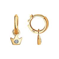 Золотые серьги детские с бриллиантами