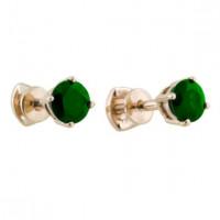 Золотые серьги гвоздики с изумрудами ЛФЕ01-Ц-БС-0050-ЕМ