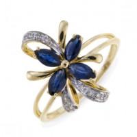 Золотое кольцо с сапфирами и бриллиантами ЛФР01-Д-33862-СА