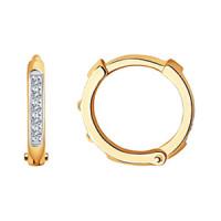 Золотые серьги детские с бриллиантами ДИ241021543-1