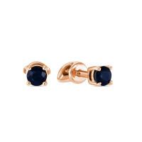 Золотые серьги гвоздики с сапфирами ЛФЕ01-Ц-Л-34269-СА