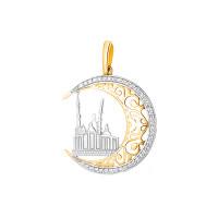 Золотая мечеть с фианитами подвеска для мусульман