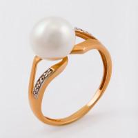 Золотое кольцо с жемчугом и фианитами ФЖ31360.1