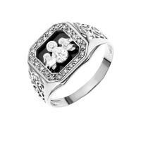 Серебряная печатка с ониксами и фианитами РЫ15156503С