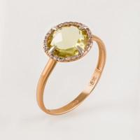 Золотое кольцо с кварцем и фианитами СН0159-1262