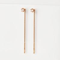 Золотые серьги протяжки с фианитами ЮПС1020377